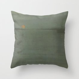 James Abbott McNeill Whistler - Nocturne Blue and Gold: Southampton Water Throw Pillow
