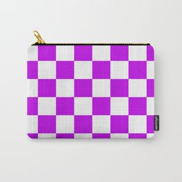 Cheerful Purple Checkerboard Pattern Carry-All Pouch