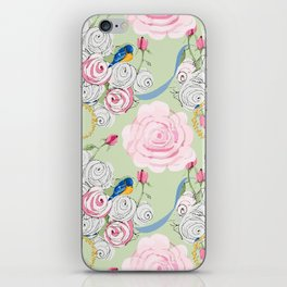 Shabby Chic Bluebirds and Roses iPhone Skin