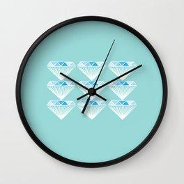 Diamonds Pattern - Blue, Green Wall Clock