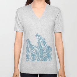 Palm Leaves Light Blue Unisex V-Neck