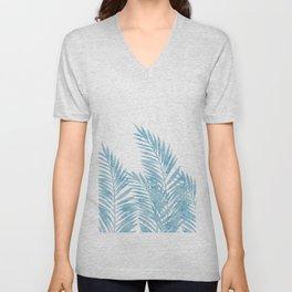 Palm Leaves Light Blue Unisex V-Neck