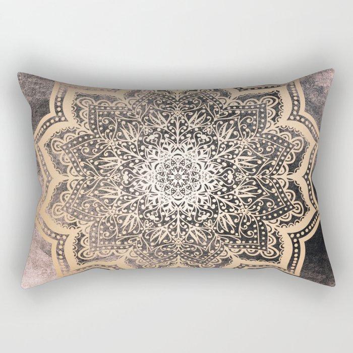 GOLD EARTH FLOWER MANDALA Rectangular Pillow