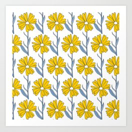 Flowers in Yellow and Blue Art Print