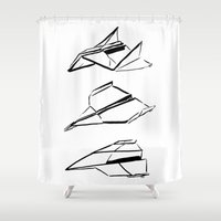 planes Shower Curtains featuring Paper Planes by Katy Shorttle