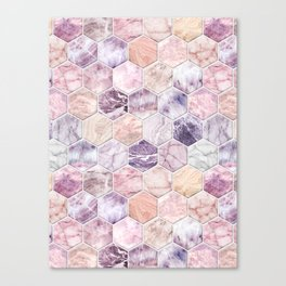 Rose Quartz and Amethyst Stone and Marble Hexagon Tiles Canvas Print