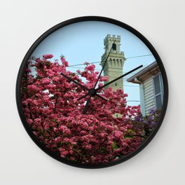 Pilgrim Monument with Flowers Wall Clock