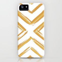 Minimalistic Gold Paint Brush Triangle Diamond Pattern iPhone Case