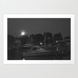 Camden Harbor at Night Art Print