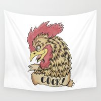 rooster Wall Tapestries featuring Rooster by Kyle Griffis Illustration