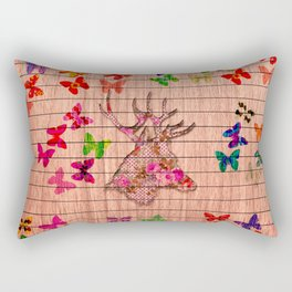 Rustic brown wood floral dear head cute butterflies Rectangular Pillow