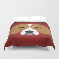 beagle Duvet Covers featuring Beagle by Three Black Dots
