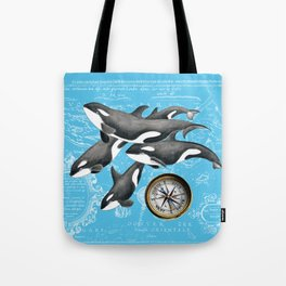 Orca Whales Pod Blue Compass Vintage Map Tote Bag