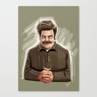 ron swanson Canvas Prints featuring This Guy. by Michael Jared DiMotta Illustrations