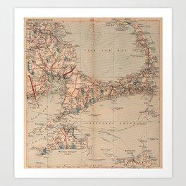 Vintage Map of Cape Cod MA (1905) Art Print