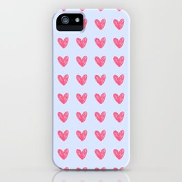 Pink hearts on blue iPhone Case