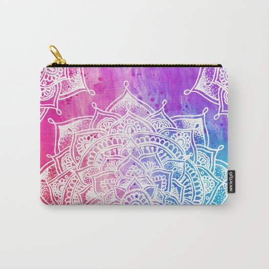 White Mandala on Watercolour Carry-All Pouch