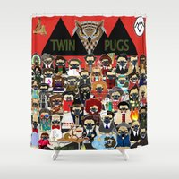 pugs Shower Curtains featuring Twin Pugs by Dark Lord Pug