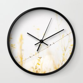 Birds on a Wire - Swallow Bird photography by Ingrid Beddoes Wall Clock