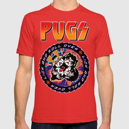 Kiss Pugs Lick and Roll Over T-shirt