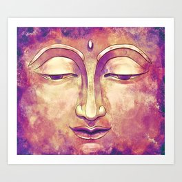 Trippy Buddha Face Painting in pink and orange for girls Art Print