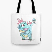 projectrocket Tote Bags featuring Caught in a DILEma by Randy C