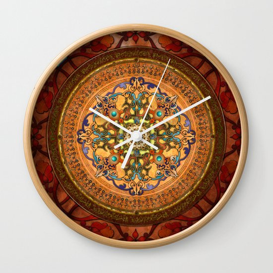 Mandala Arabia Wall Clock by Peter Awax