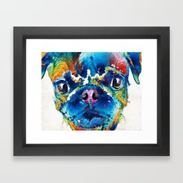 Colorful Pug Art - Smug Pug - By Sharon Cummings Framed Art Print