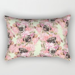 Pugs in Garden Rectangular Pillow