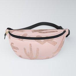 Modern rose gold cactus pattern on blush pink Fanny Pack