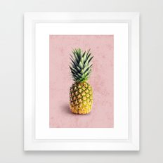 Pineapple on pink background Framed Art Print
