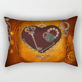 Steampunk, heart with gears Rectangular Pillow