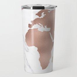 Marble World Map Rose Gold Pink Travel Mug