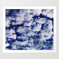 deep blue clouds wider Art Print