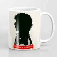 sherlock Mugs featuring Sherlock by Duke Dastardly