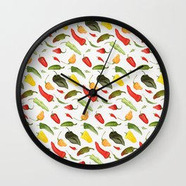 Watercolor Hot Peppers Wall Clock