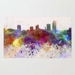 Little Rock skyline in watercolor background Rug