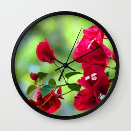 Ruby Blooms Wall Clock