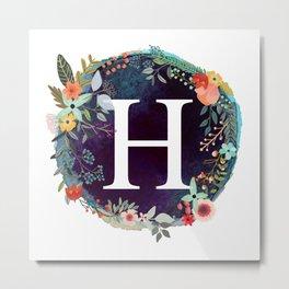 Personalized Monogram Initial Letter H Floral Wreath Artwork Metal Print