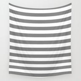 Narrow Horizontal Stripes - White and Gray Wall Tapestry