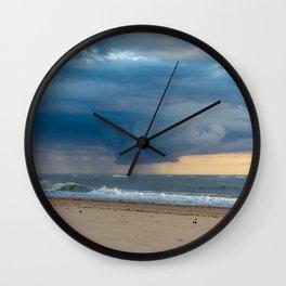 Thunderstorm Passing By Cloudy Sky Hvide Sande Beach Denmark 3 Wall Clock