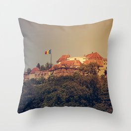 The Medieval Fortess of Brasov Throw Pillow