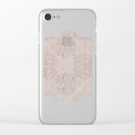 Mandala Rose Gold Pink Shimmer on Soft Gray by Nature Magick Clear iPhone Case