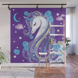 Magical Unicorn in Purple Sky Wall Mural