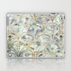 Pale Bright Mint and Sage Art Deco Marbling Laptop & iPad Skin