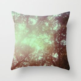 up in the trees - 600 one-step - vintage photography - sunlight - polaroid print Throw Pillow