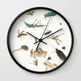 Insects, frogs and a snail Wall Clock