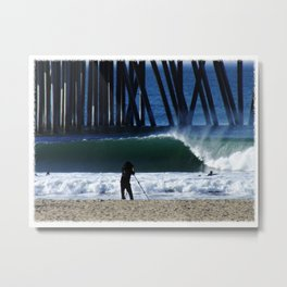 Picture Perfect Wave at the Huntington Beach Pier Metal Print