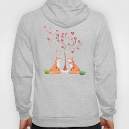 Fox love- foxes animal nature _ Watercolor illustration Hoody