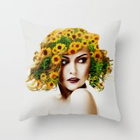sunflowers Throw Pillows featuring Sunflowers by EclipseLio